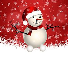 Cute snowman on red background by AnnArtshock