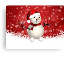 Cute snowman on red background Canvas Print