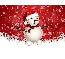 Cute snowman on red background Photographic Print