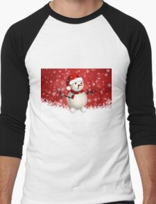 Cute snowman on red background Men's Baseball ¾ T-Shirt