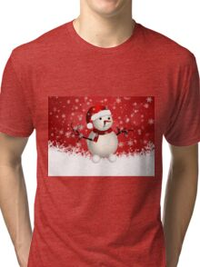 Cute snowman on red background Tri-blend T-Shirt