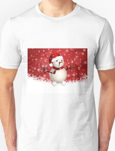 Cute snowman on red background Unisex T-Shirt