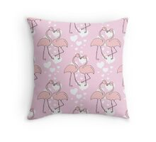 pink flamingo love couple. Throw Pillow