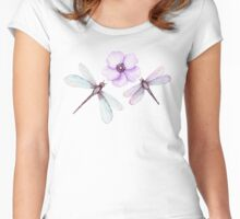 Watercolor Dragonflies and Flower Women's Fitted Scoop T-Shirt