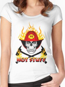 Flaming Fireman Skull Women's Fitted Scoop T-Shirt