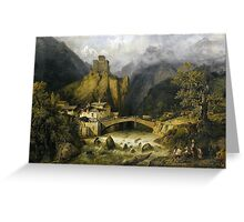 Frederic Bourgeois de Mercey  Capriccio of the Castle Grounds of Landeck in Tyrol Greeting Card