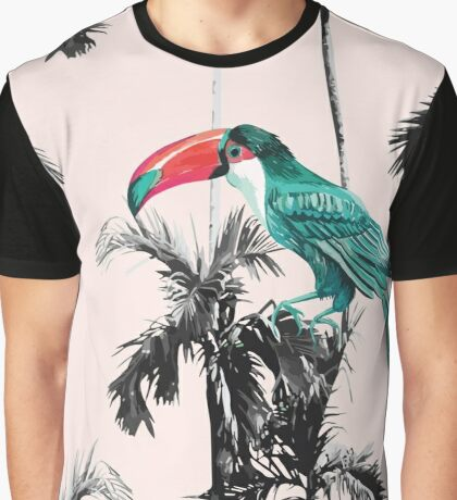 Watercolor Palm Trees and Toucan Pattern Graphic T-Shirt