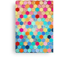 Patterned Honeycomb Patchwork in Jewel Colors Canvas Print
