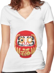 Daruma Doll Women's Fitted V-Neck T-Shirt