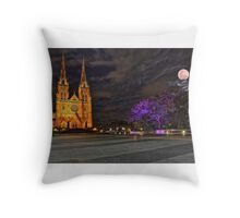 Full moon eclipse over St Mary Cathedral Sydney Australia Throw Pillow