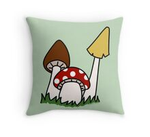 Mushrooms - Forest life Throw Pillow