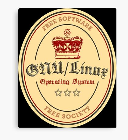 GNU Linux Operating System Free Software Free Society Canvas Print