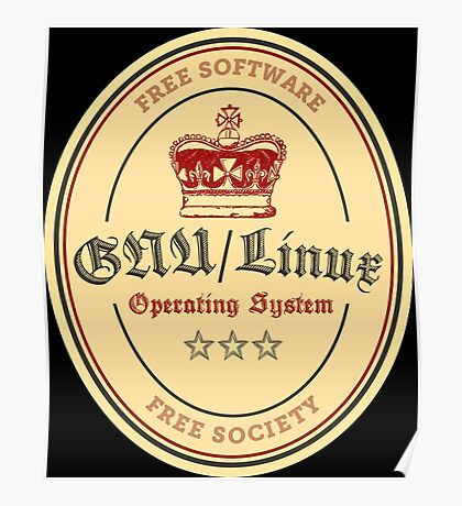 GNU Linux Operating System Free Software Free Society Poster