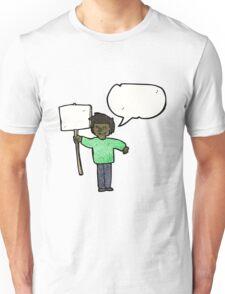 cartoon man with placard Unisex T-Shirt