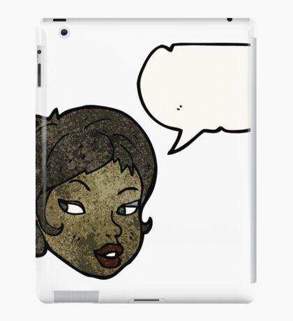 cartoon pretty woman's face with speech bubble iPad Case/Skin