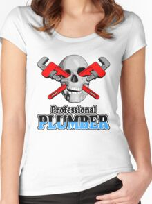 Professional Plumber Skull Women's Fitted Scoop T-Shirt