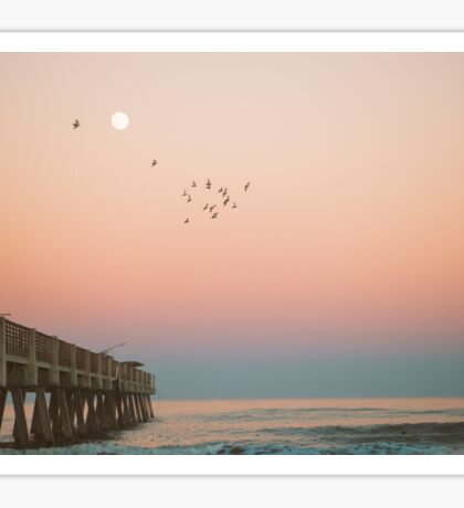 Florida Sunset Over Pier Sticker
