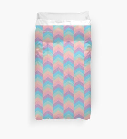 Pastel Candy Chevron Grunge Duvet Cover