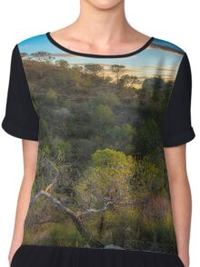Hill and trees at sunset Chiffon Top