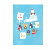 Penguins & Igloos Holiday Card Art Print