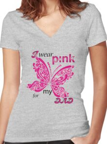 I Wear Pink For My Dad Women's Fitted V-Neck T-Shirt