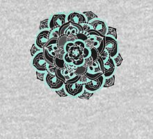 Mint & Charcoal Mandala Flower on Black Polka Dots Womens Fitted T-Shirt