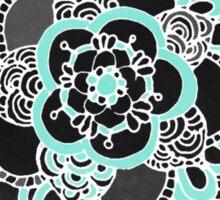 Mint & Charcoal Mandala Flower on Black Polka Dots Sticker