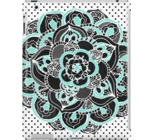 Mint & Charcoal Mandala Flower on Black Polka Dots iPad Case/Skin