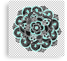 Mint & Charcoal Mandala Flower on Black Polka Dots Canvas Print