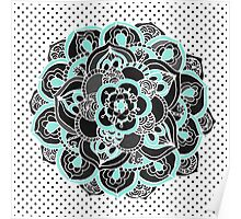 Mint & Charcoal Mandala Flower on Black Polka Dots Poster