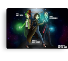 Group Doctor Who (Capadi, Smith, Tennant) Vs Disney Princess (Raiponce, Mulan, Ariel) Canvas Print