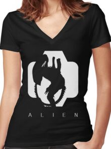 Alien Silhouette  Women's Fitted V-Neck T-Shirt