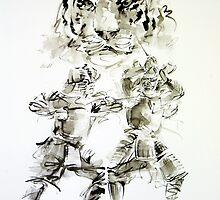 Japanese ideas for men, tiger samurai wariorr art print by Mariusz Szmerdt
