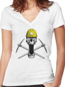 Miner Skull: Yellow Hard hat Women's Fitted V-Neck T-Shirt