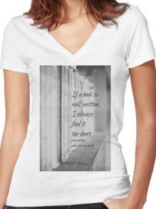 Jane Austen Book Women's Fitted V-Neck T-Shirt