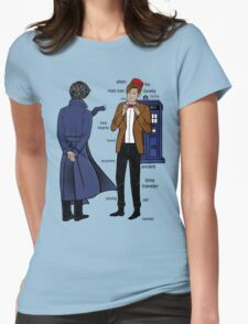Sherlock meets the Doctor Womens Fitted T-Shirt