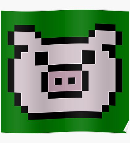 Pig (8-bit / 16-bit / Pixelated) Poster