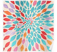 Radiant Dahlia - teal, orange, coral, pink watercolor pattern Poster