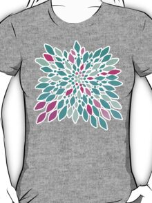 Radiant Dahlia 2 - mint, teal, magenta, pink watercolor pattern T-Shirt