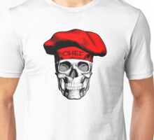 Chef Skull: Red Chef Hat Unisex T-Shirt