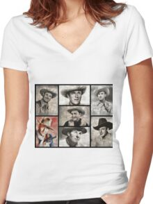Classic Hollywood Cowboys Women's Fitted V-Neck T-Shirt
