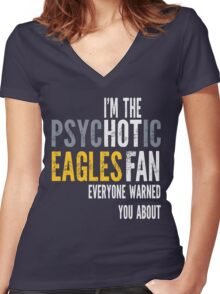 Psychotic Eagles Fan Women's Fitted V-Neck T-Shirt