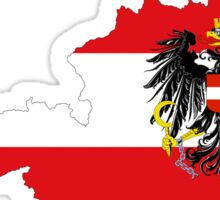 Austria Flag Map with Coat of Arms Sticker