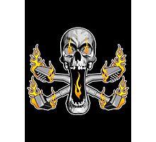Flaming Carpet Installer Skull Photographic Print
