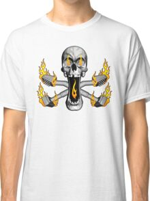 Flaming Carpet Installer Skull Classic T-Shirt