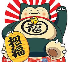 Snorlax Maneki Neko by ronin47design