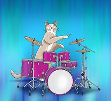 Cat Playing Drums - Blue by Orna Artzi