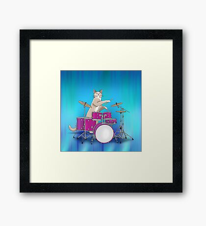 Cat Playing Drums - Blue Framed Print