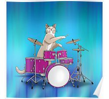 Cat Playing Drums - Blue Poster
