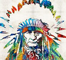 Native American Art - Chief - By Sharon Cummings by Sharon Cummings